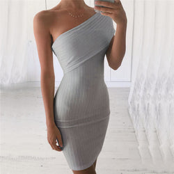 Sexy One Shoulder Bodycon Short Dress - Oh Yours Fashion - 1