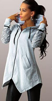 Hooded Split Letter Print Zipper Long Coats - Oh Yours Fashion - 2