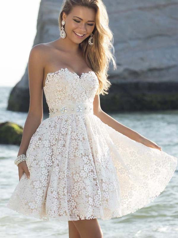 Sexy Strapless Floral Lace A-Line Pleated Short Bridesmaid Dress - Oh Yours Fashion - 2