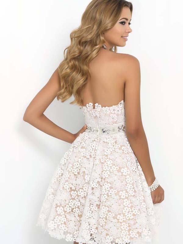 Sexy Strapless Floral Lace A-Line Pleated Short Bridesmaid Dress - Oh Yours Fashion - 4