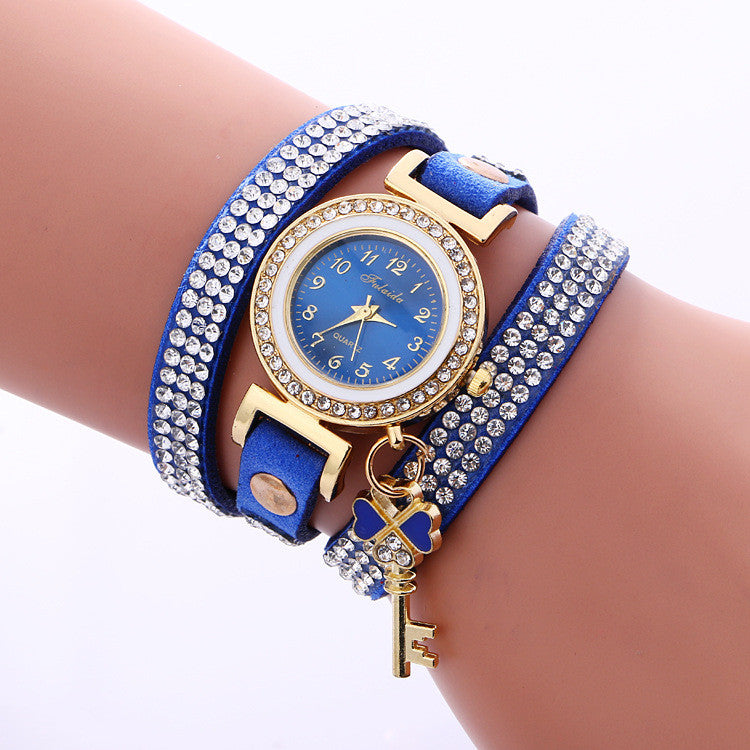 Crystal Strap Key Pendant Watch - Oh Yours Fashion - 4