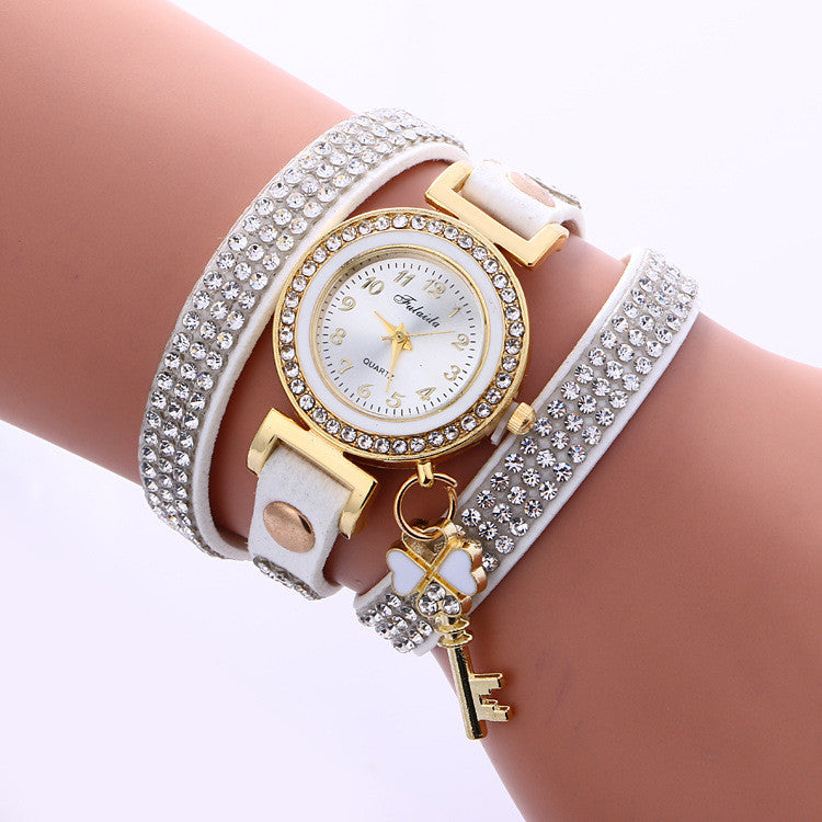 Crystal Strap Key Pendant Watch - Oh Yours Fashion - 2