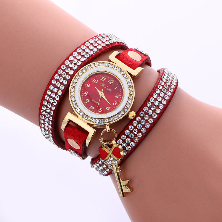 Crystal Strap Key Pendant Watch - Oh Yours Fashion - 3