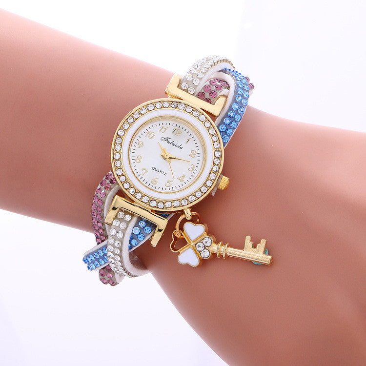 Colorful Crystal Twist Strap Key Watch - Oh Yours Fashion - 2