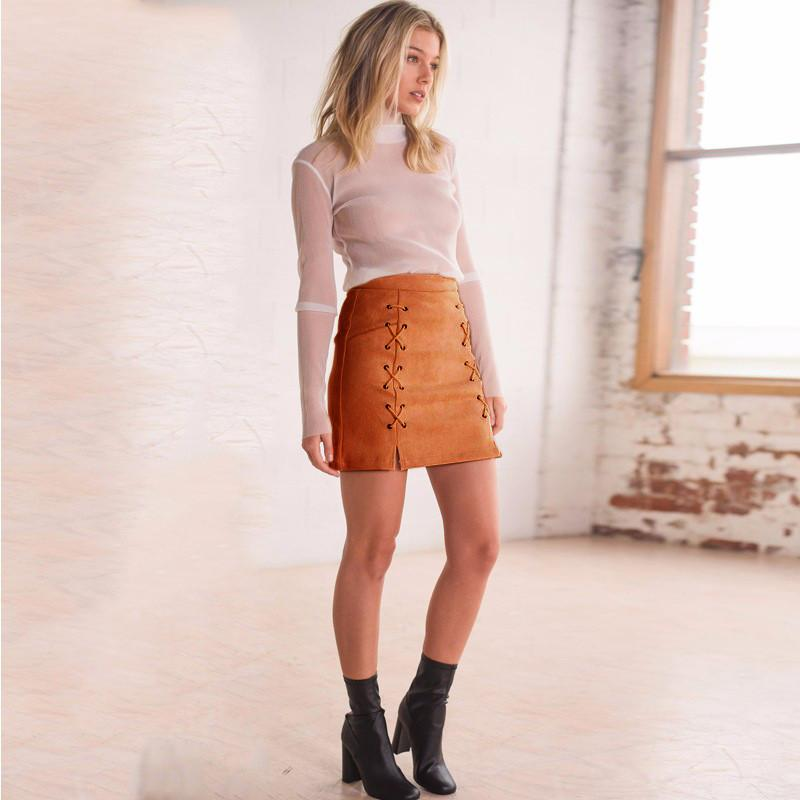 Fashion Side Lace Up Short Bodycon Split Skirt
