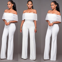 Sexy White Off Shoulder Lace Long Club Jumpsuit - Oh Yours Fashion - 4