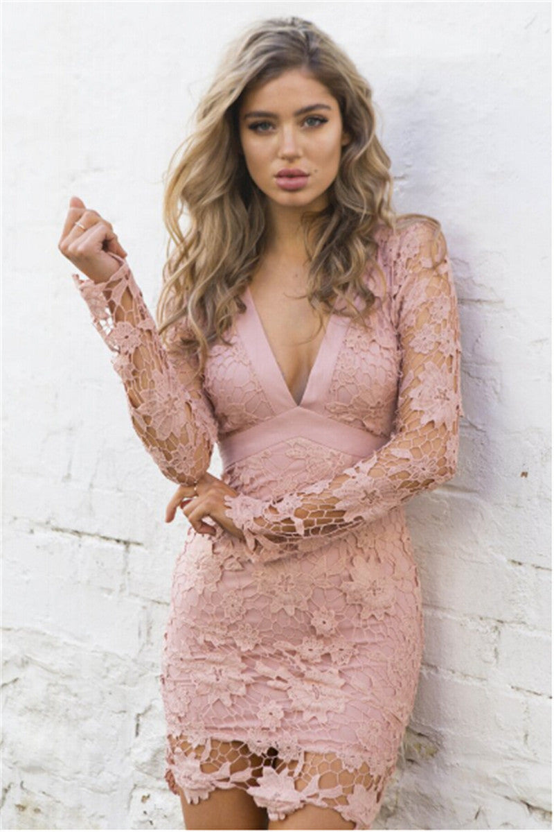 Lace Patchwork Long Sleeve Backless Bodycon Short Dress - Oh Yours Fashion - 4