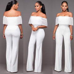 Sexy White Off Shoulder Lace Long Club Jumpsuit - Oh Yours Fashion - 5