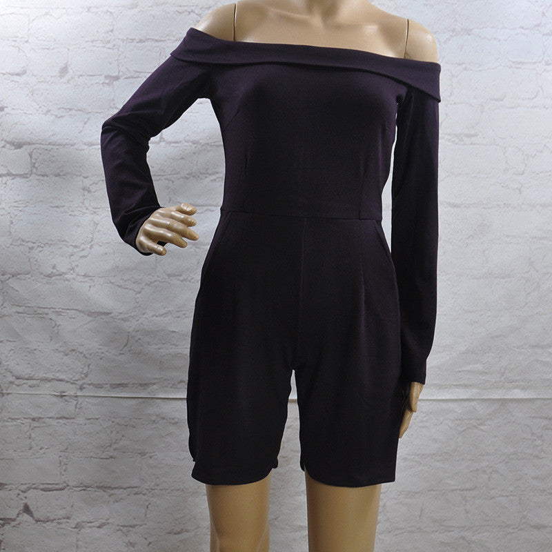 Black Off-Shoulder Long Sleeve High Waist Short Jumpsuit - Oh Yours Fashion - 4