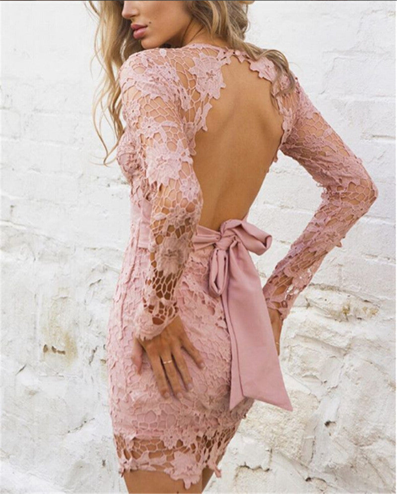 Lace Patchwork Long Sleeve Backless Bodycon Short Dress - Oh Yours Fashion - 5
