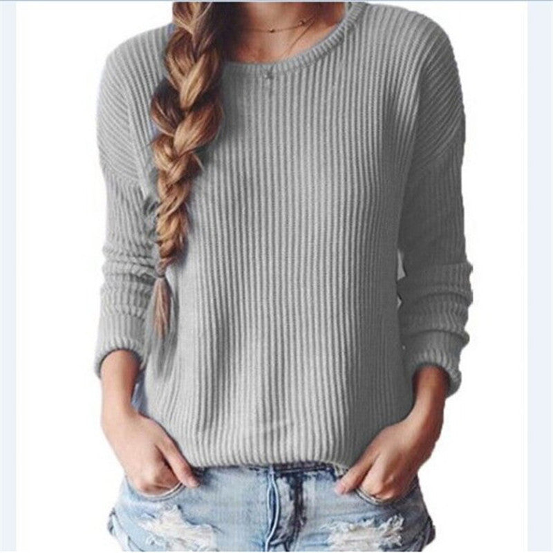 Long-Sleeved Round Collar Pure Color Loose Sweater - Oh Yours Fashion - 5
