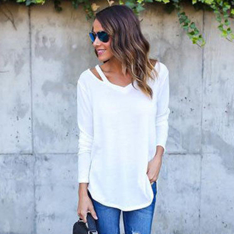 Pure Color V-neck Loose Irregular Blouse - Oh Yours Fashion - 4