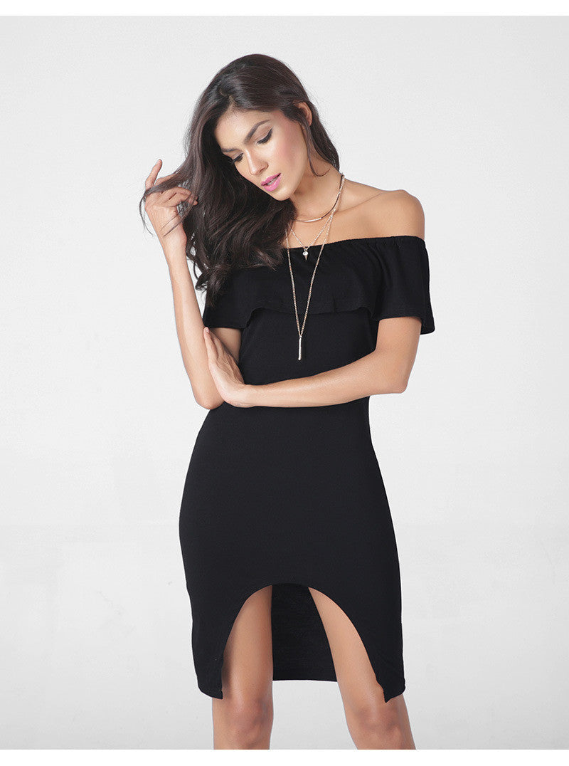 Fashion Sexy Off Shoulder Falbala Short Dress - Oh Yours Fashion - 6