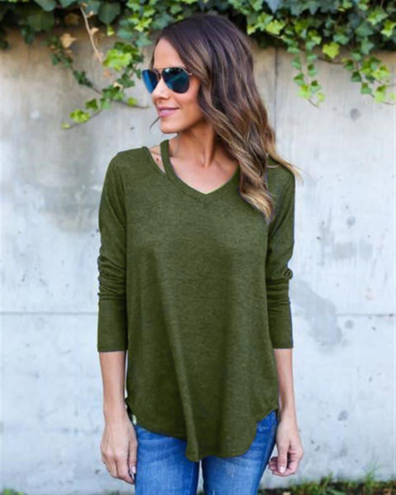 Pure Color V-neck Loose Irregular Blouse - Oh Yours Fashion - 6