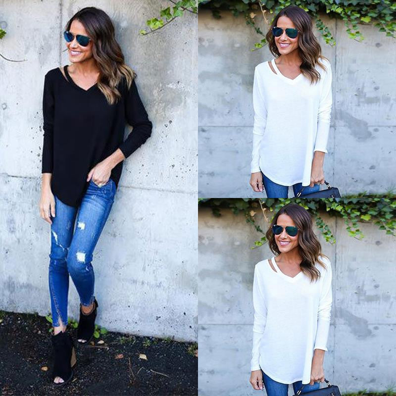 Pure Color V-neck Loose Irregular Blouse - Oh Yours Fashion - 7