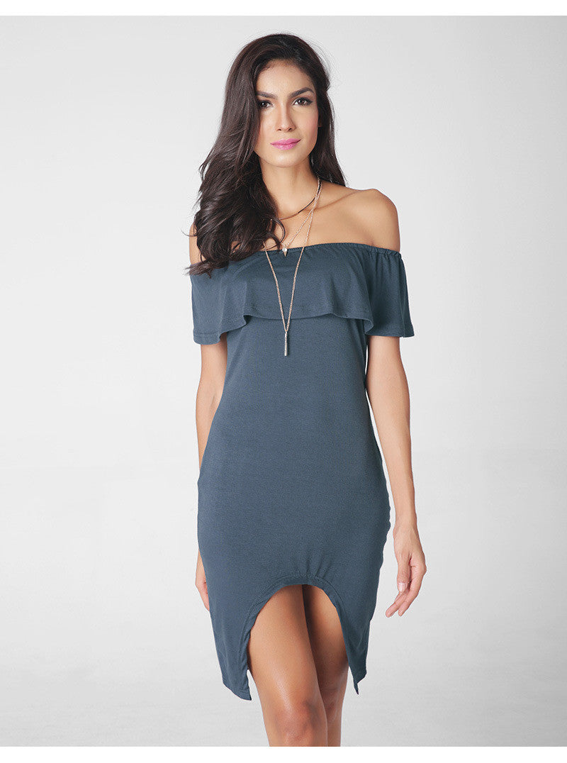 Fashion Sexy Off Shoulder Falbala Short Dress - Oh Yours Fashion - 5