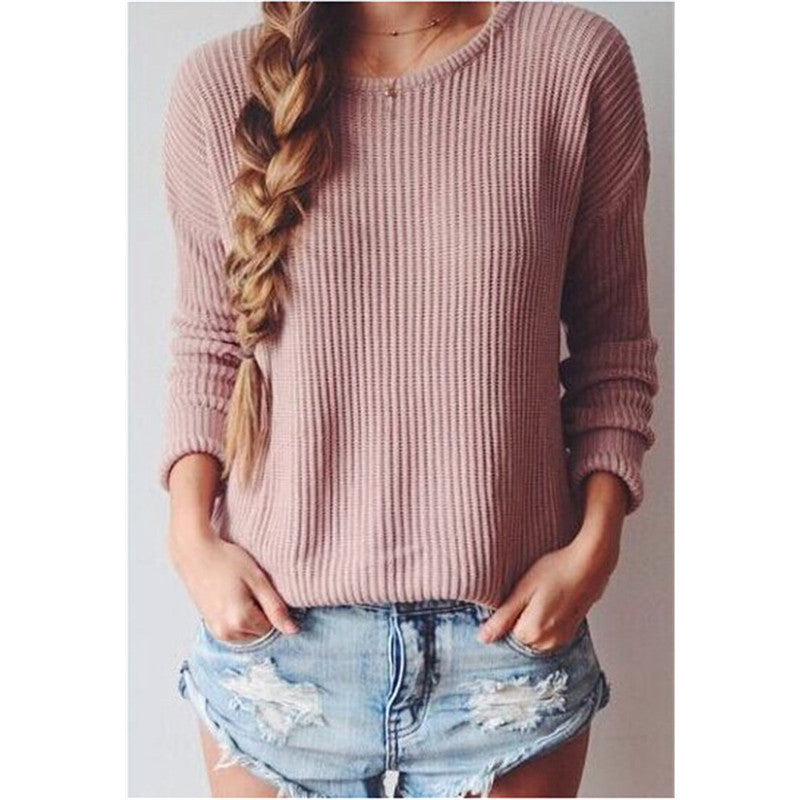 Long-Sleeved Round Collar Pure Color Loose Sweater - Oh Yours Fashion - 6
