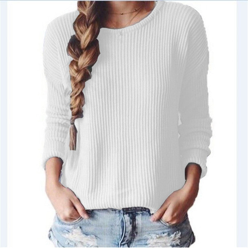 Long-Sleeved Round Collar Pure Color Loose Sweater - Oh Yours Fashion - 1