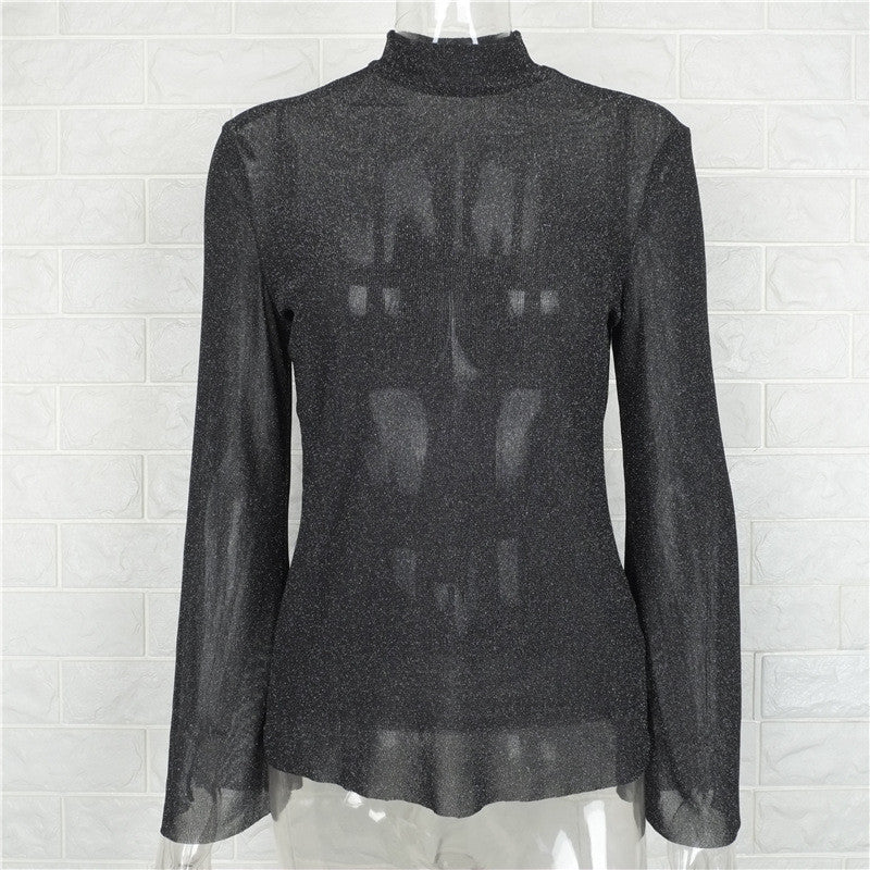 High Neck Trumpet Sleeves Transparent Loose Blouse - Oh Yours Fashion - 7