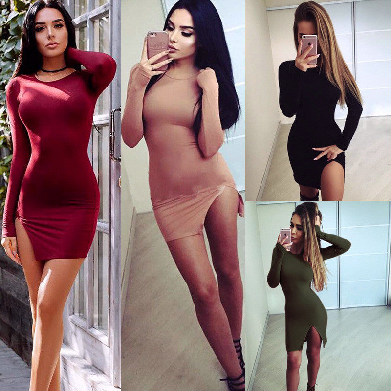Sexy Side Slit Long Sleeve Scoop Bodycon Short Dress - Oh Yours Fashion - 1