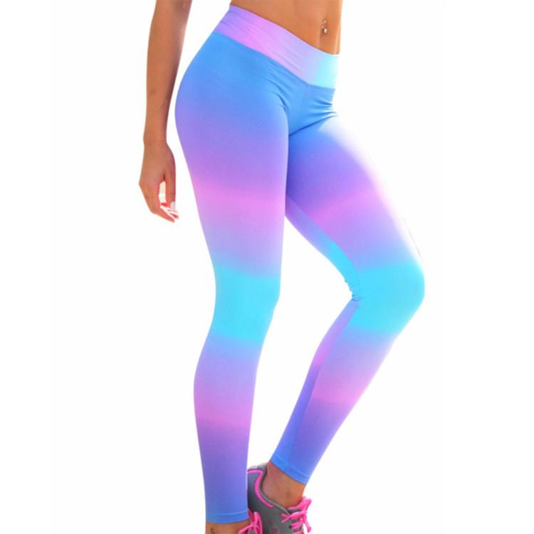 Popular Colorful Print Yoga Long Elastic Slim Leggings