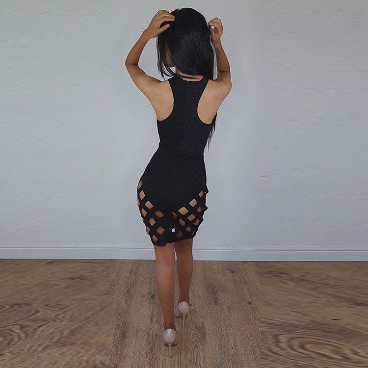 Sexy Sleeveless Cross Hollow Out Bodycon Short Dress - Oh Yours Fashion - 6