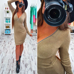 Sexy Deep Zipper V Neck Long Sleeve Bodycon Short Dress - Oh Yours Fashion - 1
