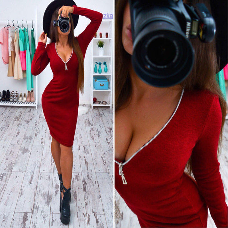 Sexy Deep Zipper V Neck Long Sleeve Bodycon Short Dress - Oh Yours Fashion - 4