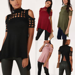 Hollow Out Back Split High Neck Irregular Blouse - Oh Yours Fashion - 1