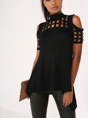 Hollow Out Back Split High Neck Irregular Blouse - Oh Yours Fashion - 3