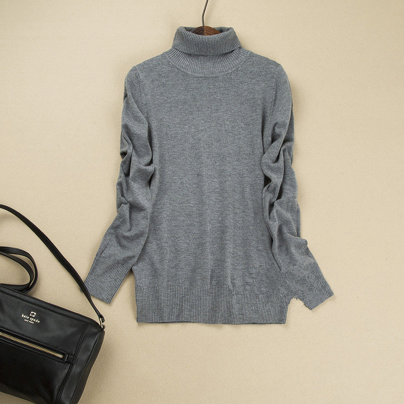 Fashion Pure Color High Neck Long Sleeve Slim Knit Sweater - Oh Yours Fashion - 10