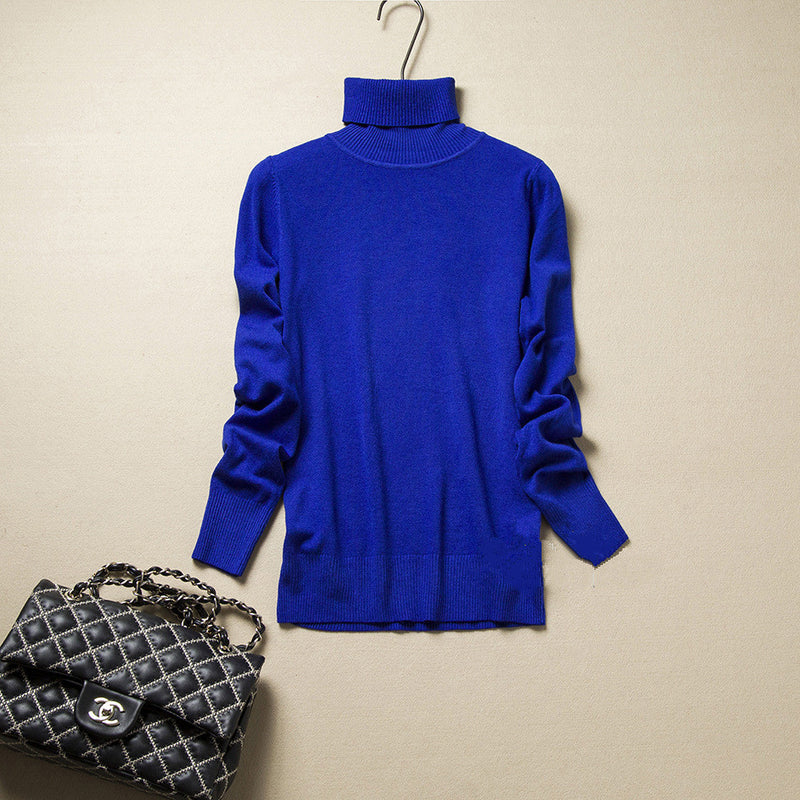 Fashion Pure Color High Neck Long Sleeve Slim Knit Sweater - Oh Yours Fashion - 12