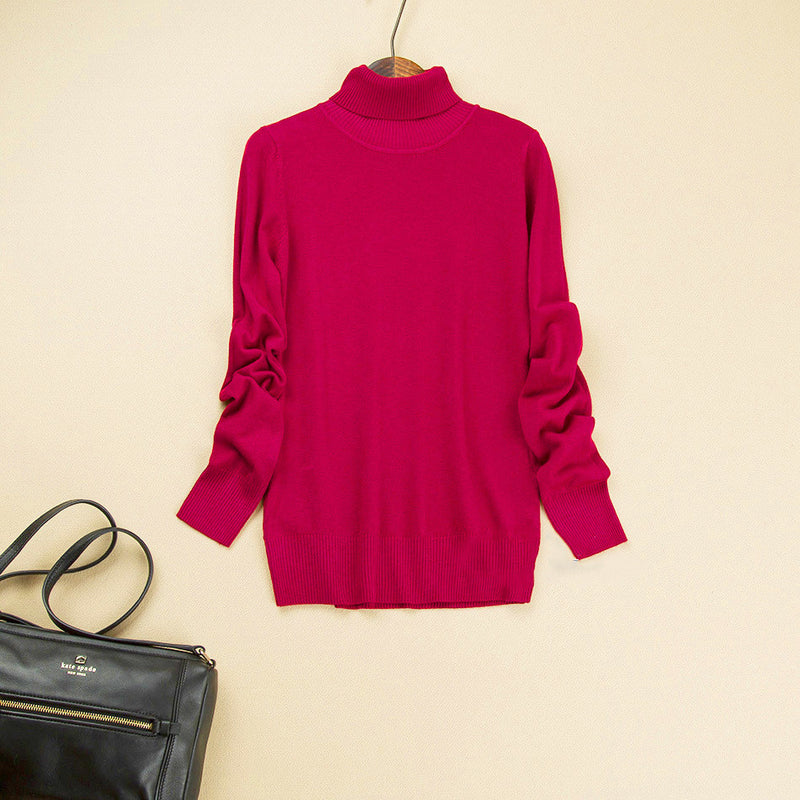 Fashion Pure Color High Neck Long Sleeve Slim Knit Sweater - Oh Yours Fashion - 8