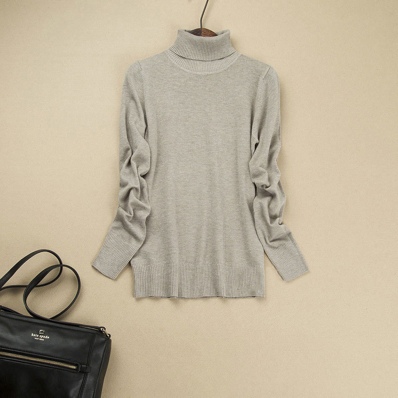 Fashion Pure Color High Neck Long Sleeve Slim Knit Sweater - Oh Yours Fashion - 4