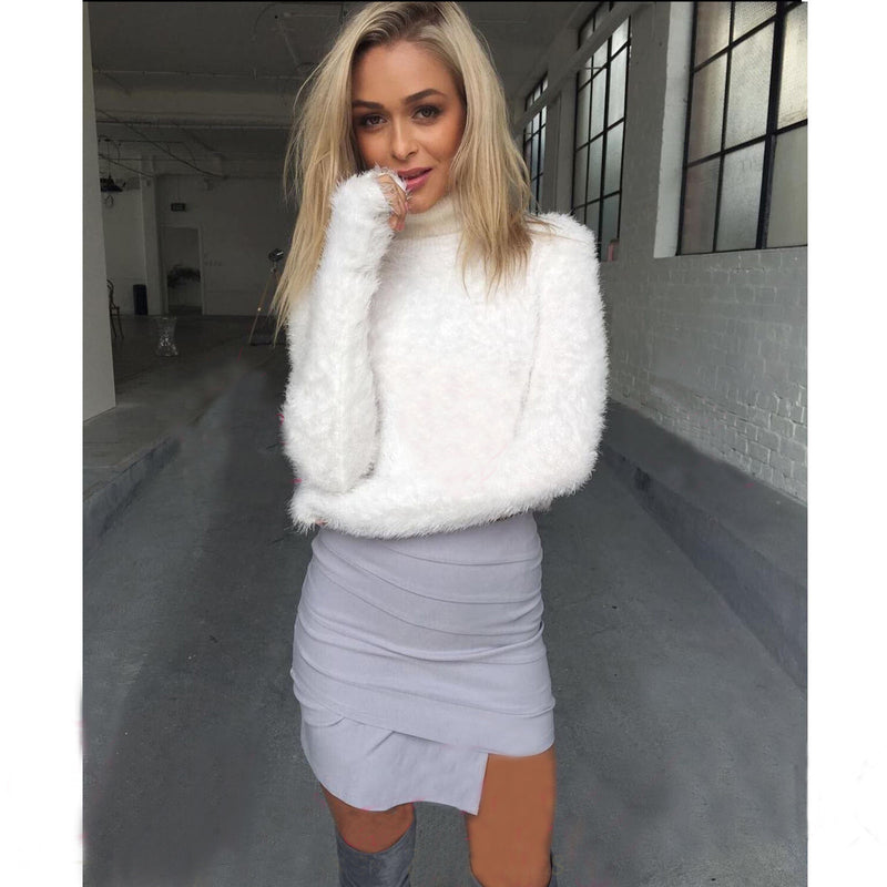 High Collar Mohair Sexy Short Crop Top Sweater - Oh Yours Fashion - 6