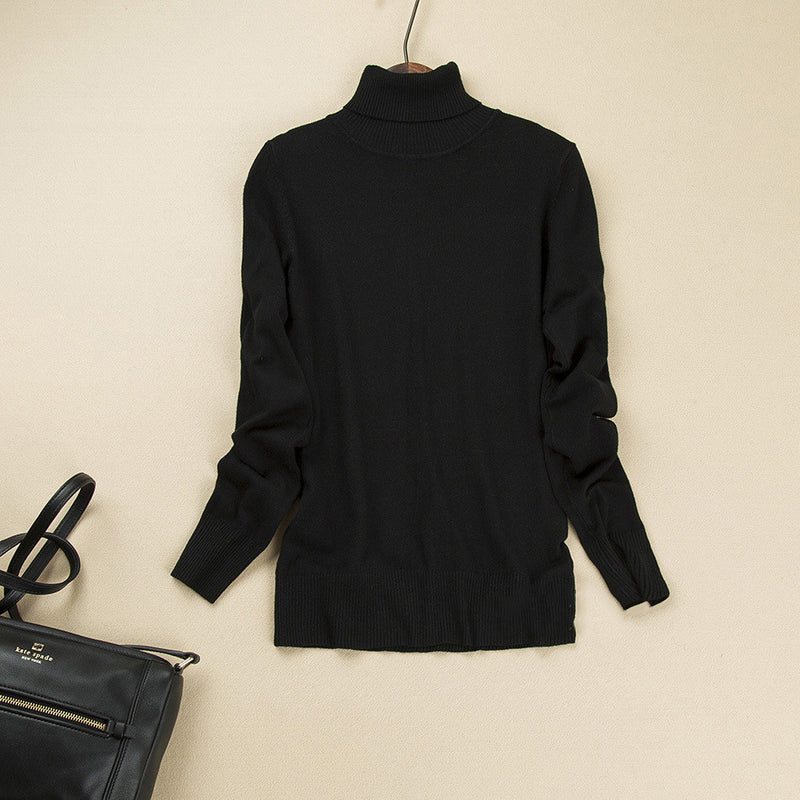 Fashion Pure Color High Neck Long Sleeve Slim Knit Sweater - Oh Yours Fashion - 11