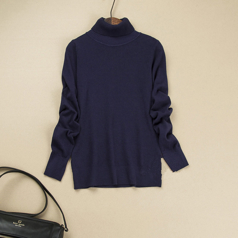 Fashion Pure Color High Neck Long Sleeve Slim Knit Sweater - Oh Yours Fashion - 13
