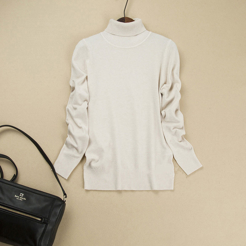 Fashion Pure Color High Neck Long Sleeve Slim Knit Sweater - Oh Yours Fashion - 15