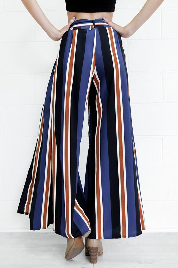 Multicolor Stripes Printed Side Split High Waist Wide Leg Pants - Oh Yours Fashion - 5