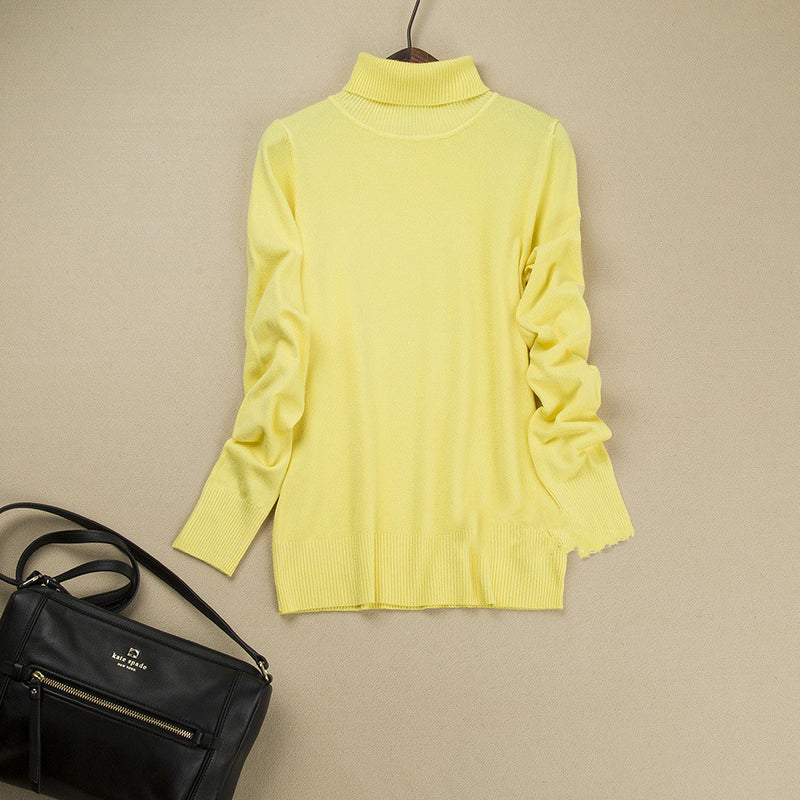 Fashion Pure Color High Neck Long Sleeve Slim Knit Sweater - Oh Yours Fashion - 6