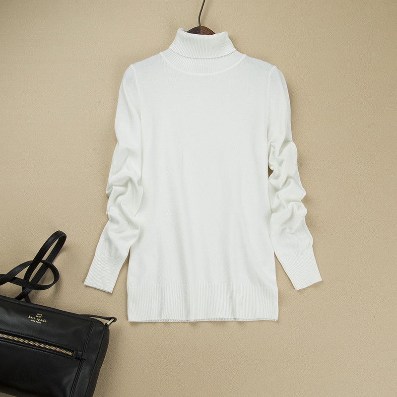 Fashion Pure Color High Neck Long Sleeve Slim Knit Sweater - Oh Yours Fashion - 1