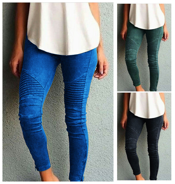 Pure Color Elastic Skinny Drape Long Pants - Oh Yours Fashion - 1
