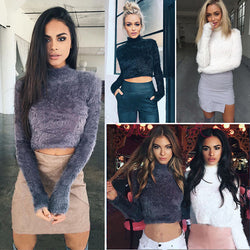 High Collar Mohair Sexy Short Crop Top Sweater - Oh Yours Fashion - 3