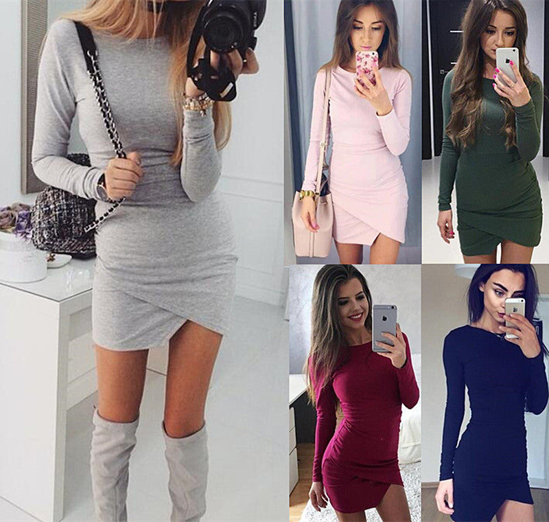 Simple Fashion Long Sleeve Short Irregular Bodycon Dress - Oh Yours Fashion - 3