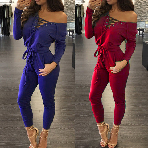 Deep V-neck Lace Up Off Shoulder High Waist Long Jumpsuit
