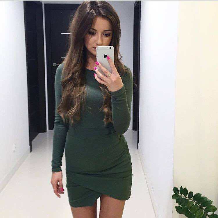 Simple Fashion Long Sleeve Short Irregular Bodycon Dress - Oh Yours Fashion - 8