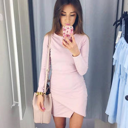 Simple Fashion Long Sleeve Short Irregular Bodycon Dress - Oh Yours Fashion - 1