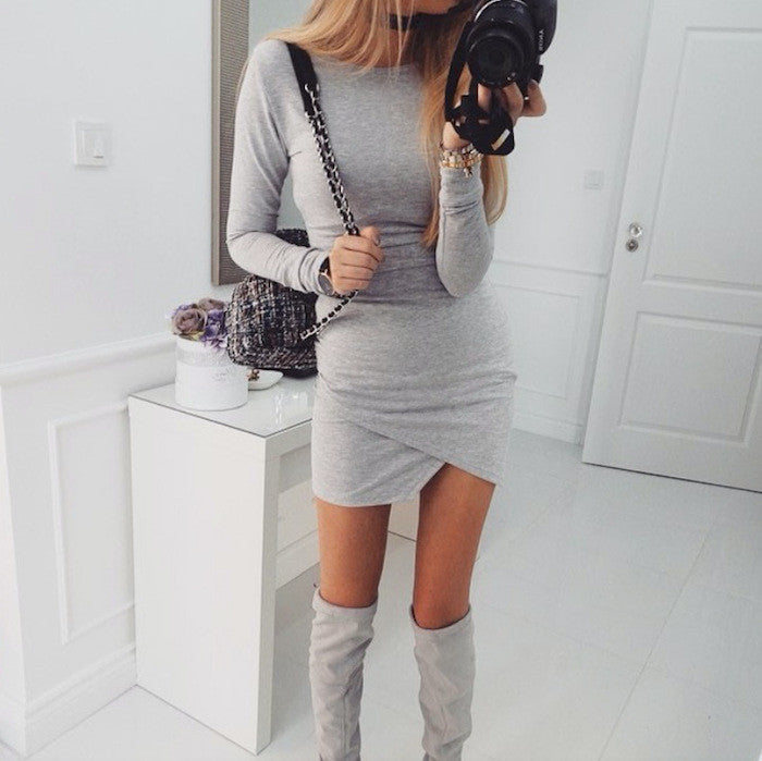 Simple Fashion Long Sleeve Short Irregular Bodycon Dress - Oh Yours Fashion - 6