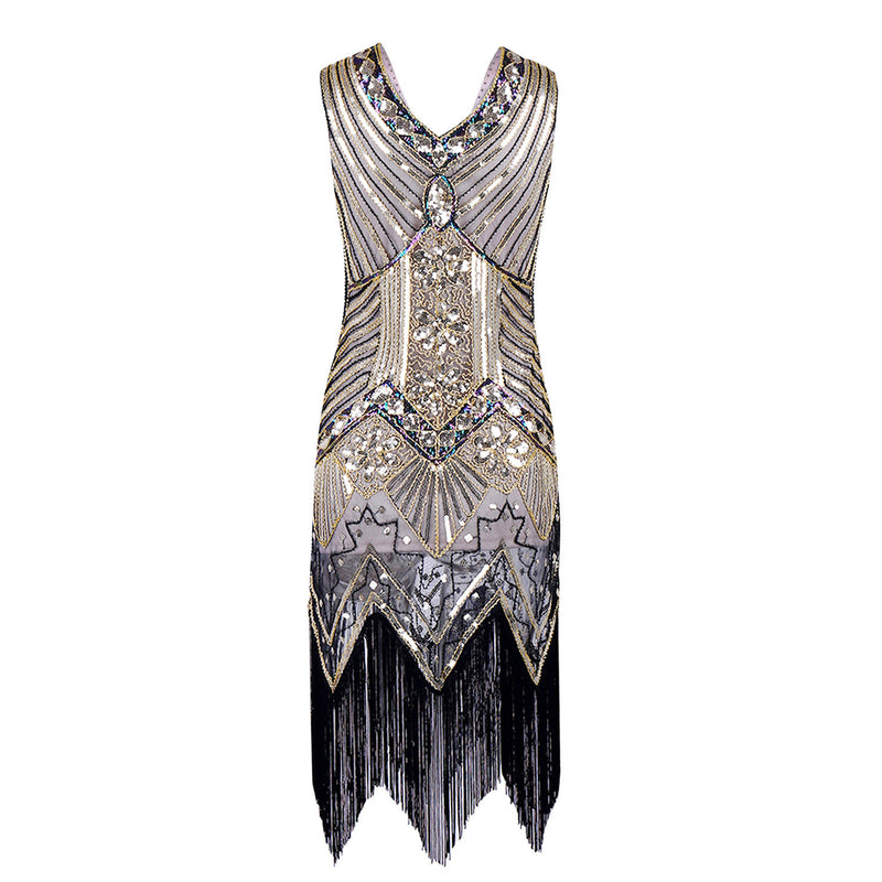 Sequins Color V-neck Tassel Latin Party Dress - Oh Yours Fashion - 4