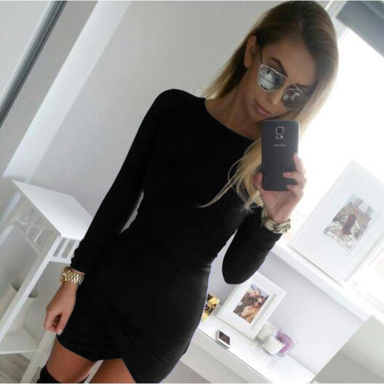 Simple Fashion Long Sleeve Short Irregular Bodycon Dress - Oh Yours Fashion - 7